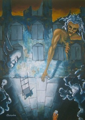 Acrylic Painting by Tanaselea Cristian Florin titled: Reverse perspective  Fear, 2013