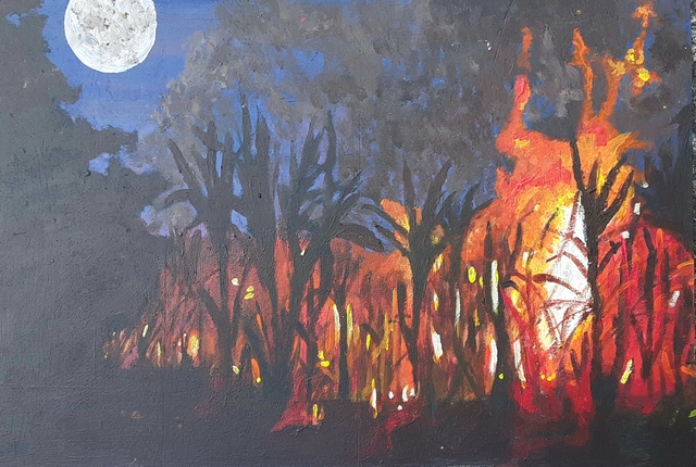 Tashalyn Alix  'An Announcement In Flames', created in 2020, Original Painting Acrylic.