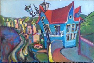 Tatiana Tarasova: 'casa de brujas', 2018 Oil Painting, Naive. Artist Description: naive, oil painting, valparaiso, chile, old house...