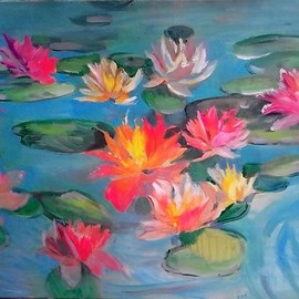Tatiana Tarasova: 'vivid colors', 2018 Oil Painting, Floral. Artist Description: decorative, flowers, water lilies, vibrant...