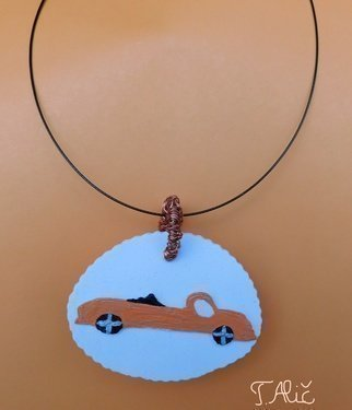 Tatjana Alic: 'handmade necklace', 2019 Jewelry, Transportation. Necklace: white pendant with design  a car ...