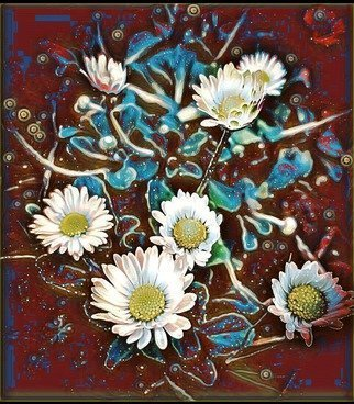 Tatum Parks Artwork a patch of daisies: in red, 2017 Digital Art, Floral