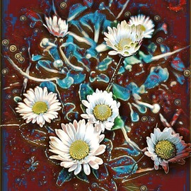 a patch of daisies: in red