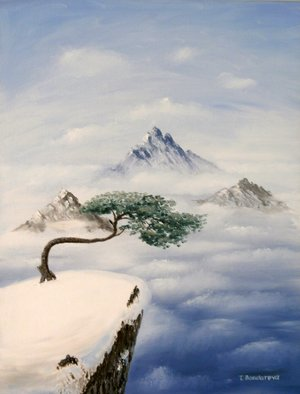 Tatyana Bondareva: 'Height ', 2013 Oil Painting, Mountains. Artist Description:           mountains, clouds, height, oil painting,  nature,  Tatyana Bondareva, original painting, oil paintings, art, blue, tree, brown, white, light blue                   ...
