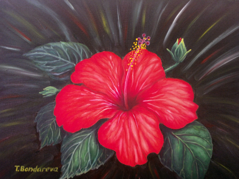 Hibiscus Wall Painting