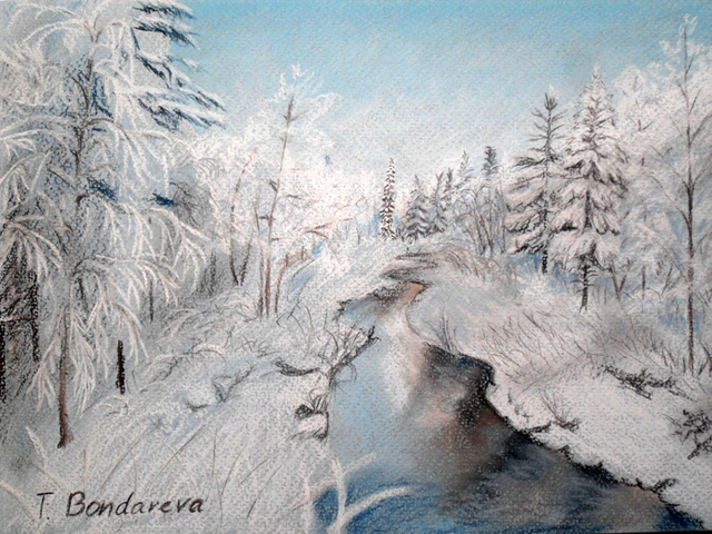 Tatyana Bondareva  'Winter Forest', created in 2011, Original Painting Other.