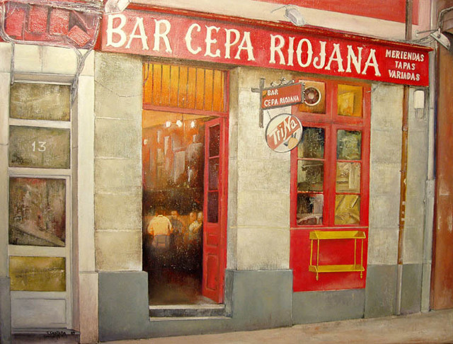 Tomas Castano  'Bar Cepa Riojana', created in 2009, Original Painting Oil.