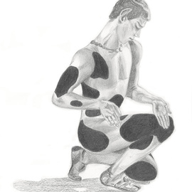 Tracey Carmen Artwork Nijinsky from the Ballet Afternoon of a Faun, 2007 Pencil Drawing, Dance