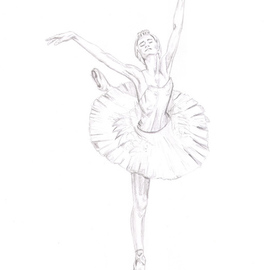 Tracey Carmen Artwork Pencil Drawing from Swan Lake ballet, 2007 Pencil Drawing, Dance