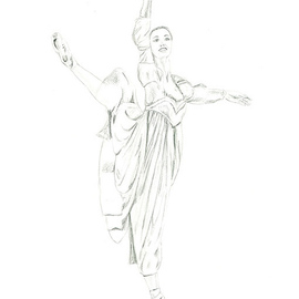 Tracey Carmen Artwork Pencil Drawing of Juliet, 2007 Pencil Drawing, Dance