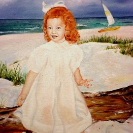 Terri Flowers: 'Allens Redhead Girl on Beach', 2008 Acrylic Painting, Portrait. Artist Description:   Redhead girl on beach, wearing dress in sand and sun ...