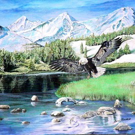 Terri Flowers Artwork American Hunter, 2008 Acrylic Painting, Mountains