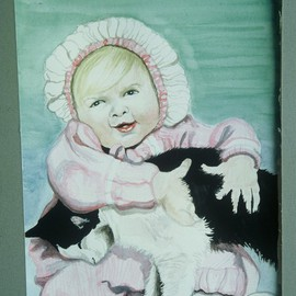 Baby and Cat Watercolor