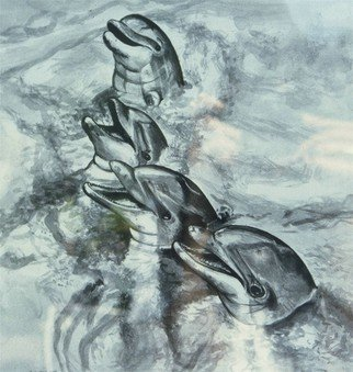Terri Flowers Artwork Dolphins in Watercolor, 1987 Other Painting, Sea Life