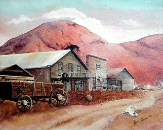 Terri Flowers: 'Ghost town with Buzzards', 1985 Acrylic Painting, Americana. Artist Description:  Old western ghost town with buzzards, skull, old saloon, and mountains in the background. ...