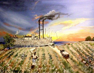 Terri Flowers: 'Mississippi Cotton Boat', 2011 Acrylic Painting, Americana. Artist Description:  Workers gather cotton while riverboat waits at the shoreline for loading. ...