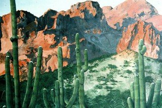 Terri Flowers: 'New Mexico Mountains', 1987 Acrylic Painting, Mountains. Artist Description:    Mountains of the western United StatesNew Mexico with cactus ...