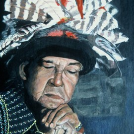 Terri Flowers: 'Onandaga Chief People of the Hills', 1985 Acrylic Painting, Portrait. Artist Description:  Portrait of Chief Leon from Syracuse, NY ...