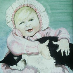 , Baby And Cat Watercolor, Portrait, Sold