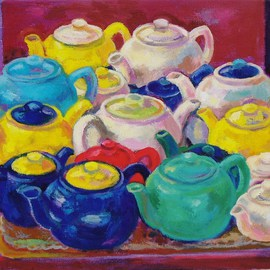 Fiona Stanbury: 'Waiting', 2009 Oil Painting, Still Life. Artist Description:  This was inspired by a group of teapots sitting on a trolley at a cafe I visit most Saturdays.  As I like painting groupings, especially of figures and nudes, this image suddenly became a metaphor for groups of people waiting for something to happen. ...