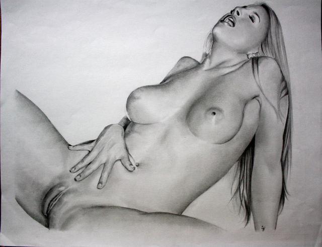 Рисунок карандашом красивую молодую голую девушку — pic 10