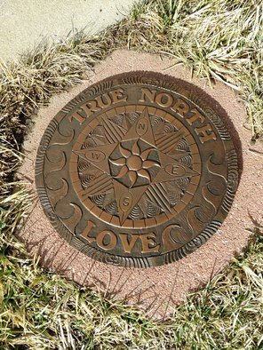 Ted Schaal: '12 inch compass rose', 2020 Bronze Sculpture, Travel. This bronze compass rose comes complete with hardware to be mounted on any flat surface. If desired it can come mounted on a square 18 inch red sandstone stepper. ...