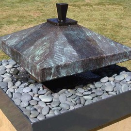 Ted Schaal: 'Balance Fountain', 2009 Bronze Sculpture, Geometric. Artist Description:  This bronze fountain has a mellow sound that inspires relaxation and meditation. It is perfect for the Zen garden. it comeswith the stones and 40 gallon powder coated aluminum catch basin. ...