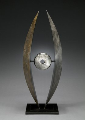 Ted Schaal: 'Eclipse', 2011 Mixed Media Sculpture, Landscape.  Bronze and stainless steel contemporary abstract inspired by the astronomical phenomena on an eclipse.  This piece recently won second place at the Lone Tree Art Exhibition.  I have 2 left in the edition and have to be cast.  Add this sculpture to you watch list and you be notified when...