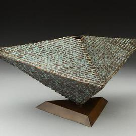 Ted Schaal: 'Equilibrium', 2006 Bronze Sculpture, Geometric. Artist Description:  A delicately balanced three sided vessel ...