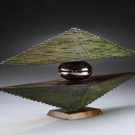Ted Schaal: 'Mirage', 2007 Bronze Sculpture, Abstract Landscape. Artist Description:  This bronze and stainless steel sculpture was inspired by the way light refracts and distorts on the horizon. It is my attempt to represent something ethereal in a solid form. ...