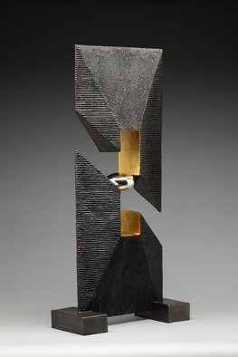 Ted Schaal: 'Open Window', 2012 Mixed Media Sculpture, Minimalism.  Mirror polished stainless steel surfaces contrast with primative textures on bronze to create this sculptures balanced composition.  A 10 foot version is scheduled to be installed in Little Rock, AR 2016.  The one pictured is installed in Lone Tree.  CO.  I will have to cast a new one to fill...