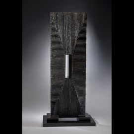Ted Schaal: 'Passage', 2012 Mixed Media Sculpture, Minimalism. Artist Description:  A mirror polished stainless steel passage pierces a bronze monolithic form creating a very cool effect. ...