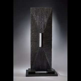 Ted Schaal: 'Passage', 2012 Mixed Media Sculpture, Minimalism.  A mirror polished stainless steel passage pierces a bronze monolithic form creating a very cool effect.  I will have to cast the last one of the edition.  Allow 8- 12 weeks for delivery. ...