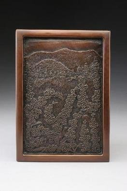 Ted Schaal: 'Peaceful Meadow', 2005 , Landscape.  Bronze wall relief. ...