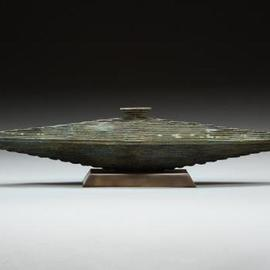 Ted Schaal: 'Spaciana', 2006 Bronze Sculpture, Geometric. Artist Description:  Only one made. non- functional vessel with removable stopper. ...