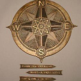 Ted Schaal Artwork compass rose with solstice markers, 2004 Bronze Sculpture, Astronomy