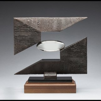 Ted Schaal: 'horizon', 2016 Bronze Sculpture, Abstract. This bronze and mirror polished stainless steel sculpture appears to defy gravity with its  delicately balanced yet structurally sound composition. ...
