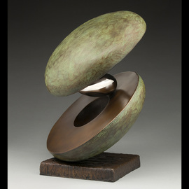 Ted Schaal: 'orbacado', 2016 Bronze Sculpture, Abstract. Artist Description: The Orbacado was inspired by pulling apart and avocado and the void left by the pit on one side.  It is a contemporary abstract sculpture made of bronze with polished stainless steel pit. ...
