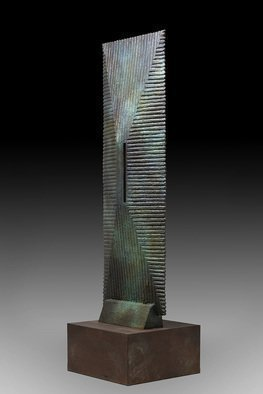 Ted Schaal: 'passage', 2017 Bronze Sculpture, Abstract. This six foot tall monolithic bronze and stainless steel sculpture was inspired by hiking in the deserts of the South West. When exploring slot canyons often times you think you are seeing though to the end of the canyon only to find out that you have been fooled. Tricks of ...