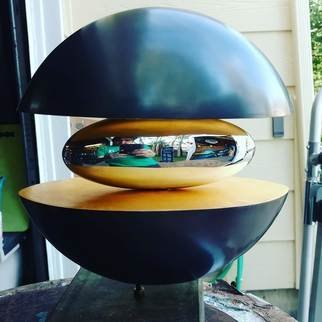 Ted Schaal: 'rise', 2018 Bronze Sculpture, Abstract. Elegant round abstract sculpture that combines Bronze, mirror polished stainless steel and 24 karat Gold leaf. ...