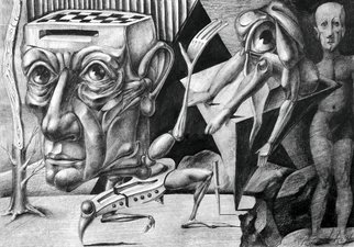 Temo Dumbadze Artwork Going away, 1997 Pencil Drawing, Surrealism