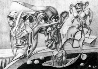 Temo Dumbadze Artwork In the boat, 1997 Pencil Drawing, Surrealism
