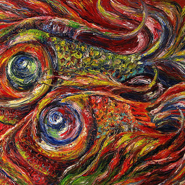Temo Dumbadze: 'Two fish', 2013 Oil Painting, Surrealism. Artist Description:  Two fish, oil on cardboard. 100cmx70cm, painted in 2013. bank transfer only.      ...