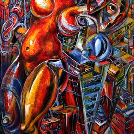Temo Dumbadze Artwork city of the future, 2013 Oil Painting, Surrealism
