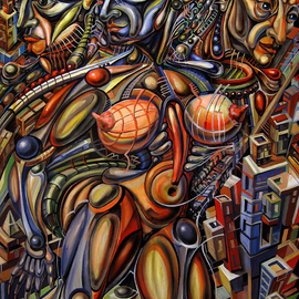 Temo Dumbadze: 'city of the future', 2013 Oil Painting, Surrealism. Artist Description:  Sity of the future, oil on cardboard. 70cmx100cm, painted in 2013. bank transfer only.bank transfer only.        ...