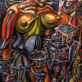 Temo Dumbadze Artwork mother City, 2013 Oil Painting, Surrealism