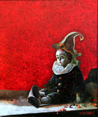 Temo Svirely Artwork pierrot, 2011 Oil Painting, Theater