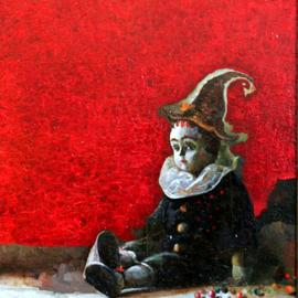 Temo Svirely: 'pierrot', 2011 Oil Painting, Theater.