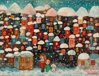 Temo Svirely Artwork winter, 2016 Oil Painting, Children