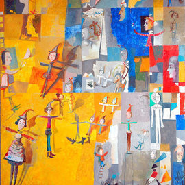 Temo Svirely: 'yellow symphony', 2008 Oil Painting, Abstract Figurative. Artist Description: people, music, theatre, love, freedom...